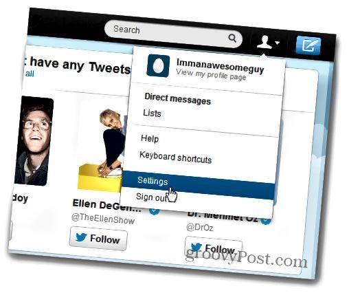 ٹویٹر اکاؤنٹ کی ترتیبات
