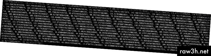 Každé číslo v seznamu představuje, kolik energie bylo v tomto frekvenčním pásmu 50 Hz