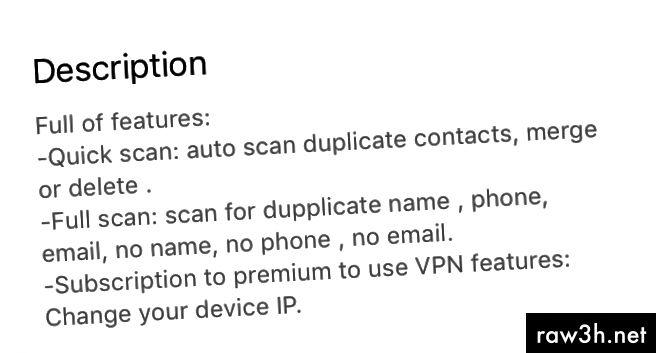 """Директен екран от описанието на приложението """"Мобилна защита: Clean & Security VPN""""."""