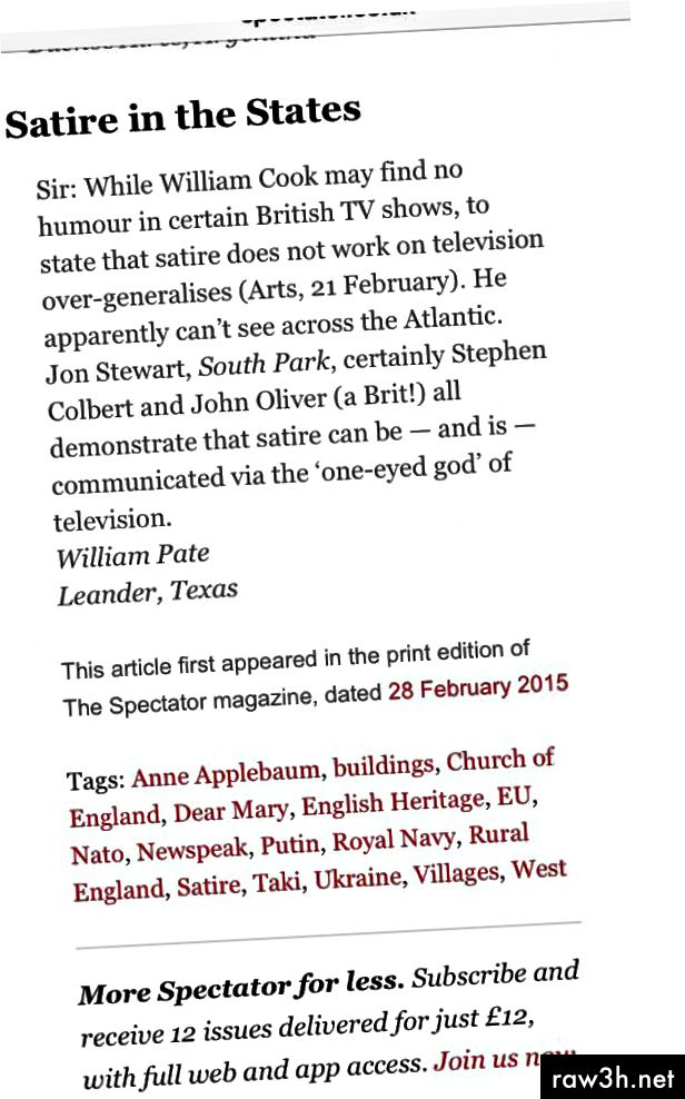 Můj první mezinárodní dopis redaktorovi zveřejněný v The Spectator.