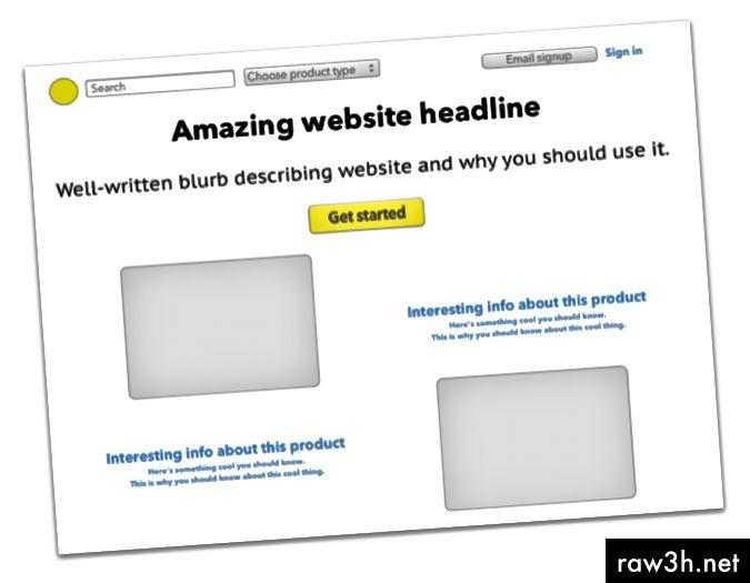 (Очевидно фалшив) пример на екрана на целевата страница