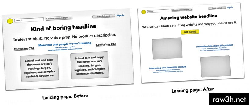 Příklad snímků obrazovky zobrazujících stránky před a po