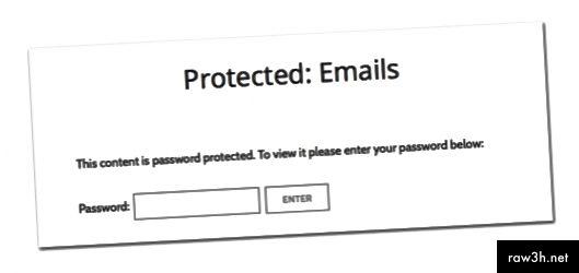 Příklad stránky chráněné heslem na webu WordPress