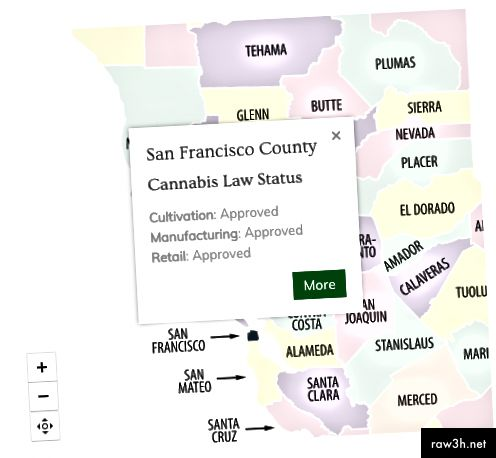 Изображение на интерактивна карта на състоянието на закона за канабиса от: http://cannabusinesslaw.com/
