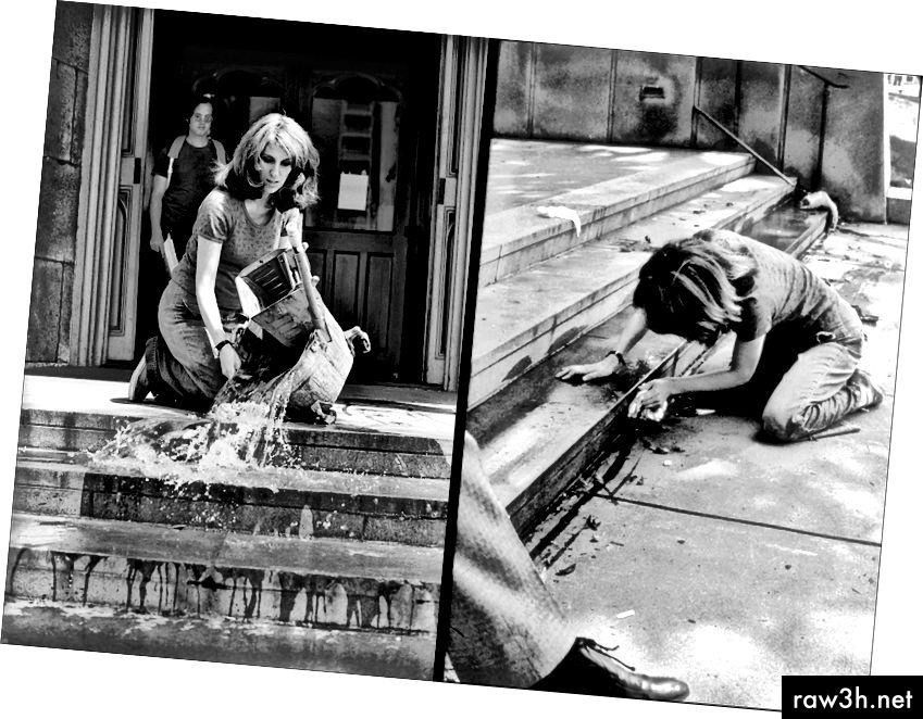 Mierle Laderman Ukeles ، الغسل / المسارات / الصيانة: خارجي ، 1973