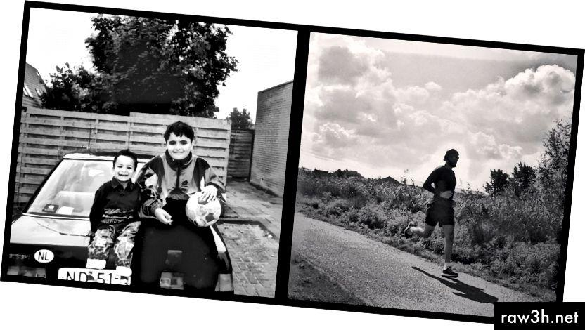 على اليسار: (ممتلئ) أنا وأخي الصغير دانيال يبتعدان عن سيارة ميتسوبيشي المبتورة لأبينا مع كرة قدم ممزقة. على اليمين: تبدو وكأنها آلة تشغيل متوسطة الحجم على أحد أشواط يومي الصيف الماضي.