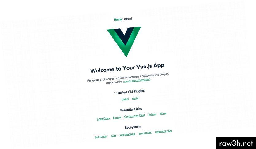 изглед по подразбиране от новия проект Vue