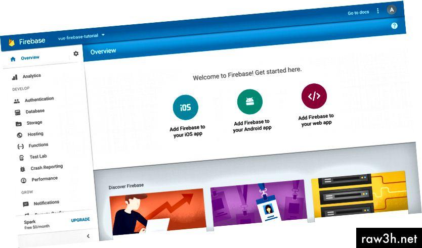 начална страница на проекта в Firebase