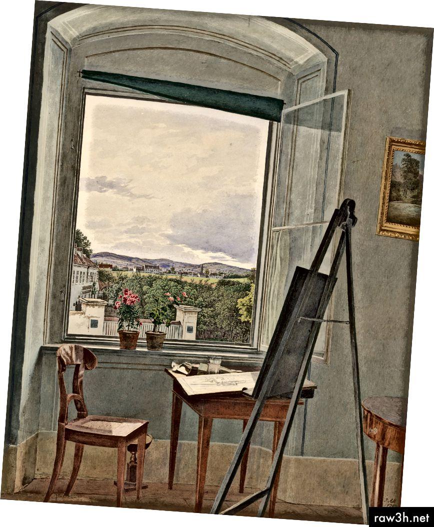 """Jakob Alt, """"Pohled z uměleckého studia v Alservorstadtu směrem k Dornbachu"""", 1836. Obrázek: Getty"""