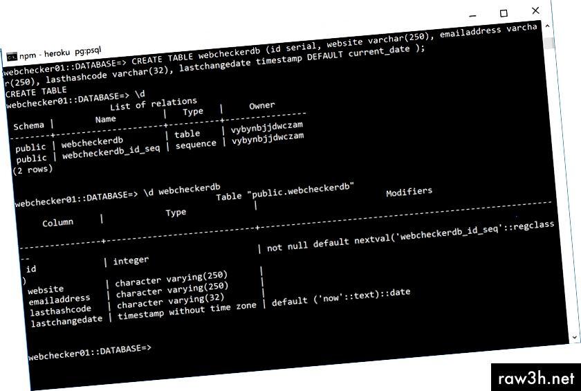 """Vytvoření databáze, poté pomocí přepínače \ d zobrazíte seznam tabulek a poté """"\ d webecheckerdb"""" pro zobrazení sloupců"""