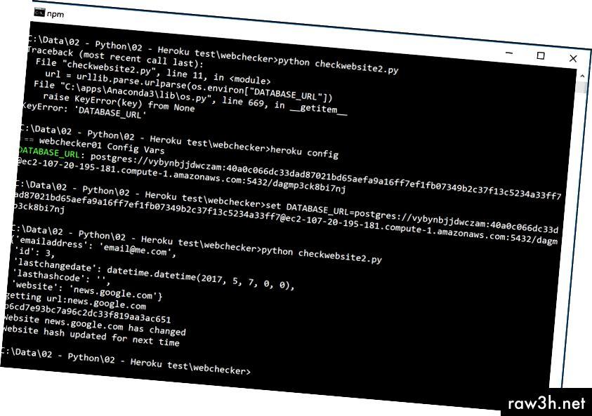 Ако получите грешка DATABASE_URL, след това задайте променлива среда