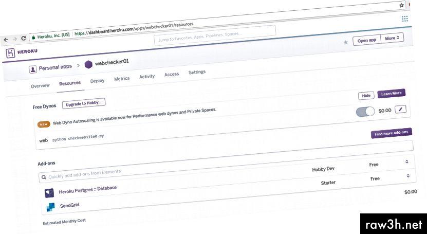 Doplněk SendGrid, který umožňuje odesílání e-mailů, bude dole