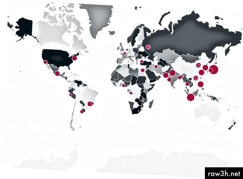 Резултатът от WorldMap.js трябва да изглежда така. Страните са оцветени въз основа на индекса на страната в масива worldData. Размерите на кръга се определят от размера на населението на всеки показан град.