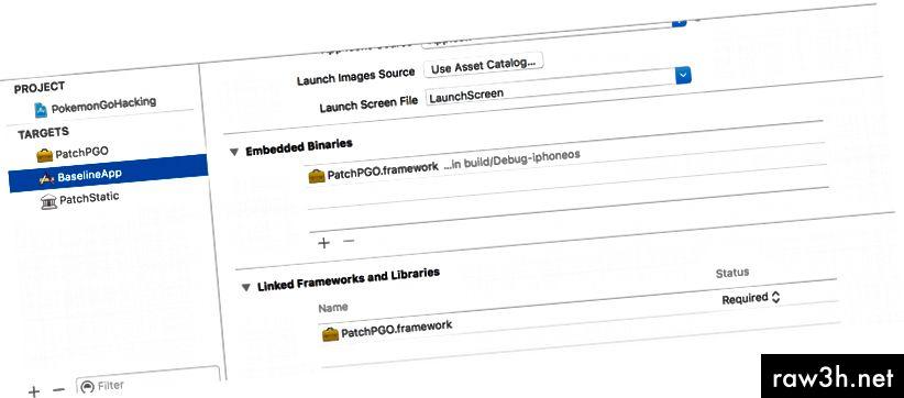 الإعدادات العامة لهدف تطبيق iOS: تأكد من ارتباط إطار العمل الخاص بك