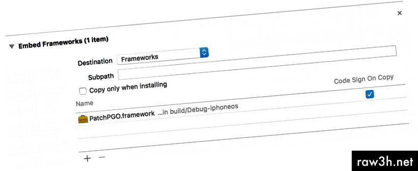 مرحلة بناء هدف تطبيق iOS: تأكد من إضافة إطار العمل الخاص بك تحت عنوان