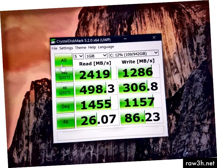 Реален CrystalDiskMark 5.2.0 x64 резултат с Toshiba THNSN51T02DU7