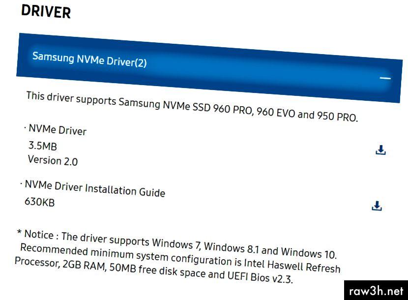 """Там. Точно там. Manbearpig. """"Този драйвер поддържа Samsung NVMe SSD 960 PRO, 960 EVO"""", дрън дрън."""