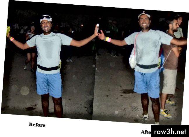 الصورة على اليسار التي التقطت قبل بداية السباق. الصورة على اليمين التي اتخذت بعد 12 ساعة ، بعد الانتهاء!