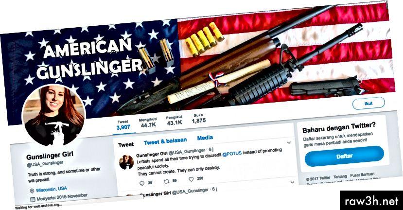 Акаунтът @USA_Gunslinger беше фалшив акаунт, премахнат от Twitter за връзките му с руската дезинформация