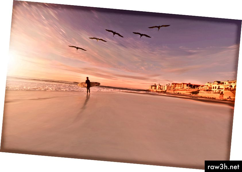 Unsplashのフランクマッケナによる「サンディエゴの日没時に鳥の群れの下の砂浜でサーファー」