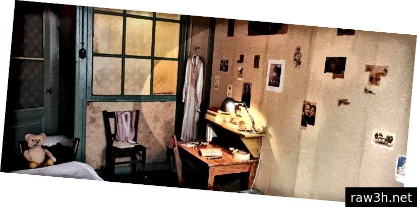 Το παράρτημα της κρεβατοκάμαρας της Άννας Φρανκ (μπορείτε να δείτε στον τοίχο της τις φωτογραφίες των διασημοτήτων που αποσύρθηκαν από τα περιοδικά κουτσομπολιού)