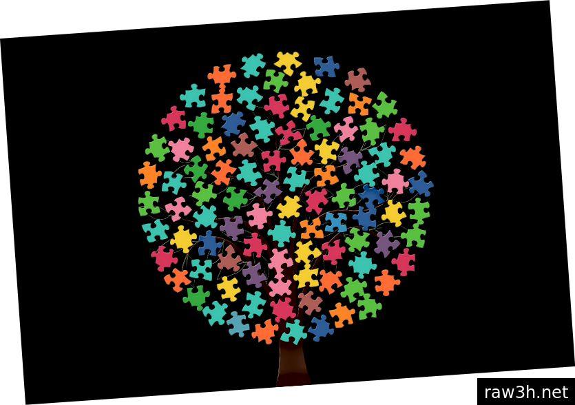 पिसाबाय मार्गे गेरल्टच्या द्वारा, पानांऐवजी गोल छत आणि बहु-रंगीत कोडे तुकडे असलेल्या पांढर्या पार्श्वभूमीवर झाडाचा साधा ग्राफिक.