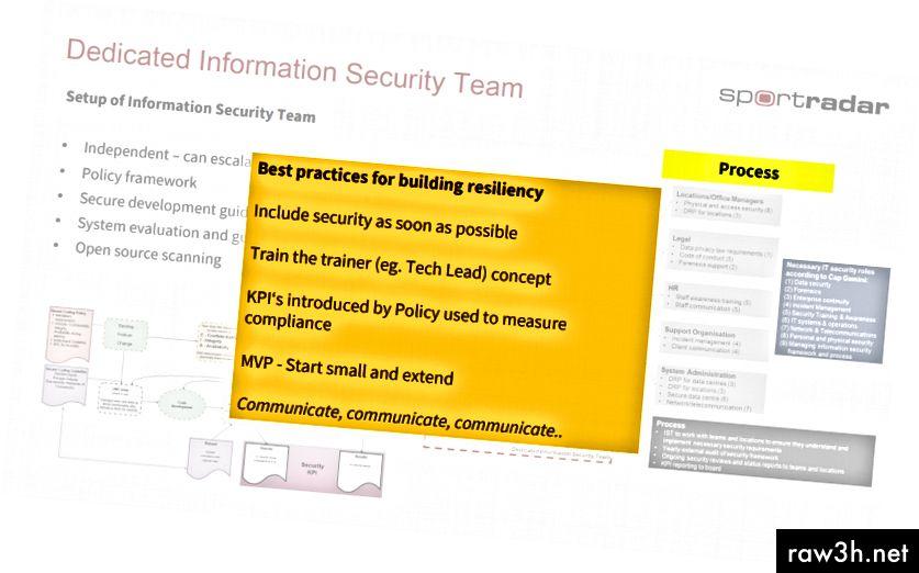 Paper d'un equip de seguretat centralitzat que no assumeix la tasca de seguretat del producte, però assessorament (font: Pablo Jensen, CTO de Sportradar - diapositives de la seva presentació a QCon London 2018)