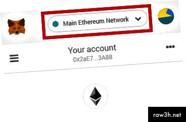 تأكد من تحديد شبكة Ethereum الرئيسية في القائمة المنسدلة