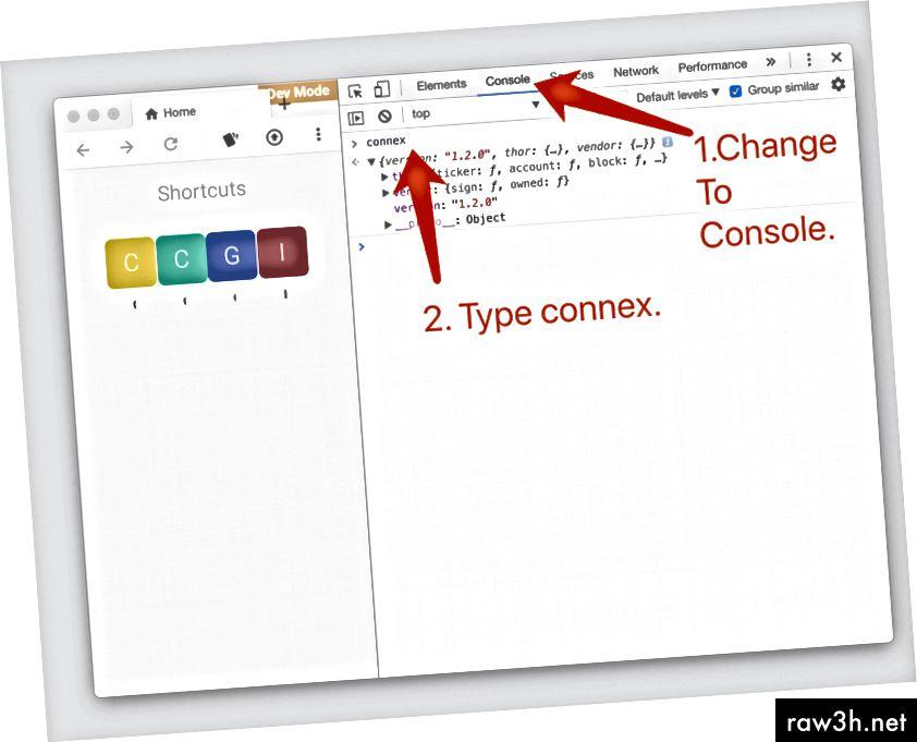 Отворете Инструменти за програмисти, за да посетите Connex.