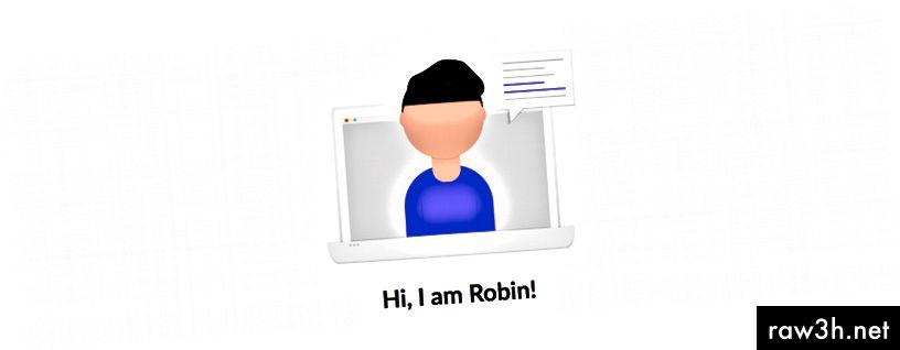 Základní náhled virtuálního asistenta na https://robinjs.party.