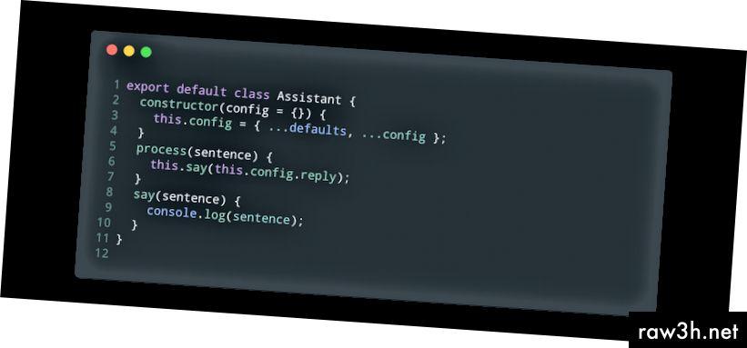 Základní proces a říkají funkce našeho asistenta (assistant.js).