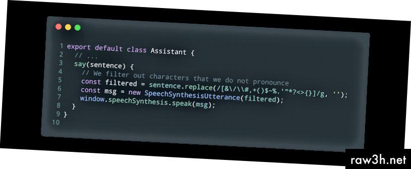 Основна реализация на функцията казвам (помощник.js).