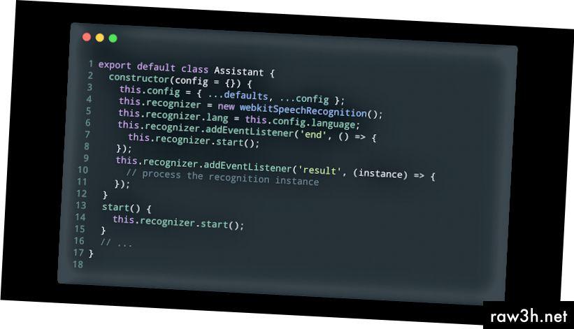 Inicializujte základní rozpoznávač ve konstruktoru (assistant.js).
