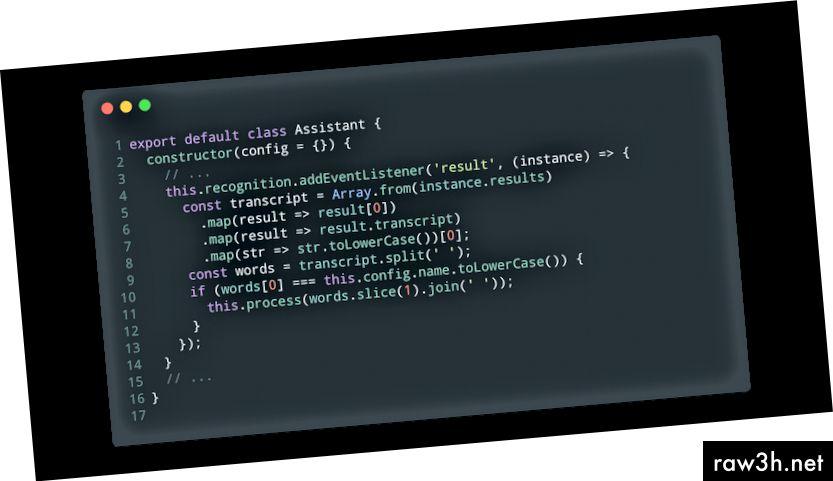 Kompletní implementace převodu přepisu (assistant.js).