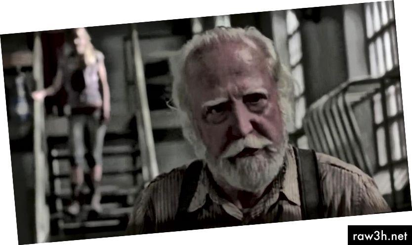 """Хершел Грийн (Скот Уилсън) е строгият баща на Бет и Маги в телевизионния сериал на AMC """"Ходещите мъртви""""."""