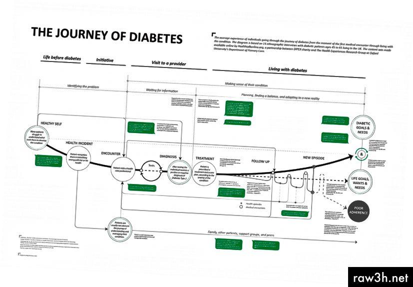 Mapa Journey of Diabetes, kterou vytvořil Diego Bernardo, sleduje zkušenosti pacienta s diabetem a propojuje jejich motivace a chování s různými systémy poskytování zdravotní péče. Návrhář zdokumentuje zdroj svých dat na mapě sám pro další kontext.