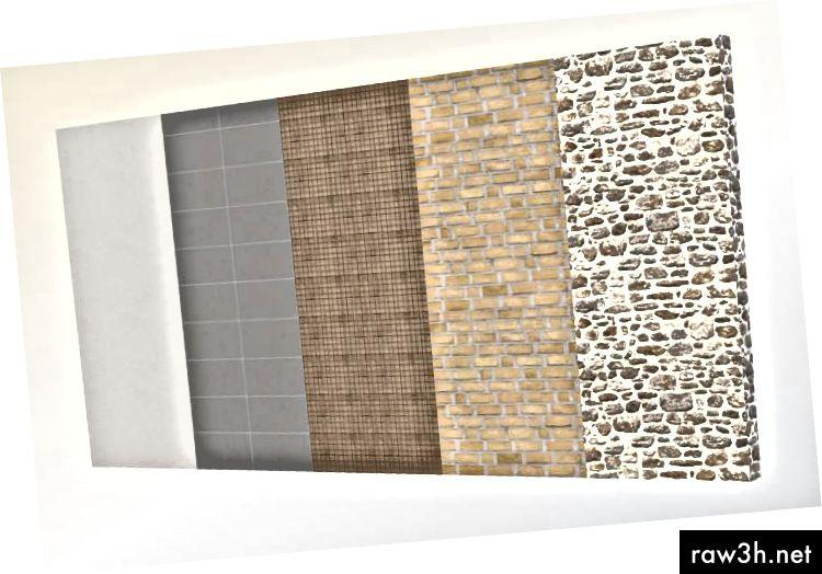 مواد مختلفة تطبق على الأجسام الجدار