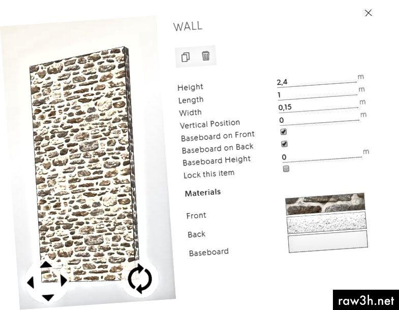 كائن الجدار المحدد مع 3 فتحات المواد على اليمين