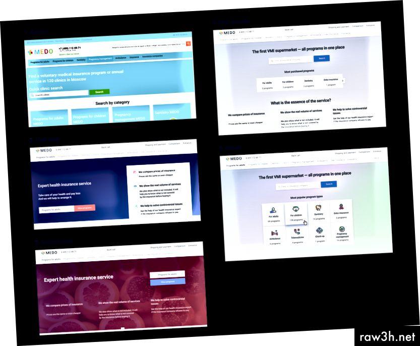 1) الإصدار القديم 2،3) تكرار للصفحة الرئيسية. أول نماذج بالحجم الطبيعي 4) الإصدار الأول في التعليمات البرمجية. 5) أحب المستخدمون آخر واحد بسبب «الألوان الزاهية» والصور التوضيحية تريد النقر