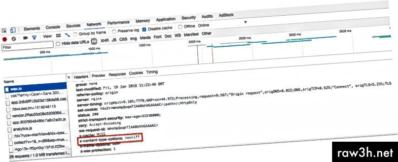 رأس أمان HTTP X-Content-Type-Options قيد الاستخدام