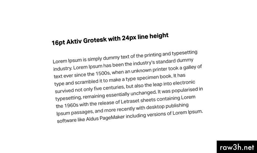 Můžete vidět Aktiv Grotesk s výškou řádku ve velikosti 1,5 násobku textu těla.