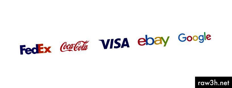 Лого на Wordmark на FedEx, Coca-Cola, Visa, eBay и Google.