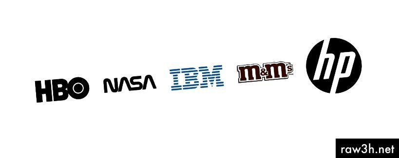 Лого лого на HBO, НАСА, IBM, M&M и HP.
