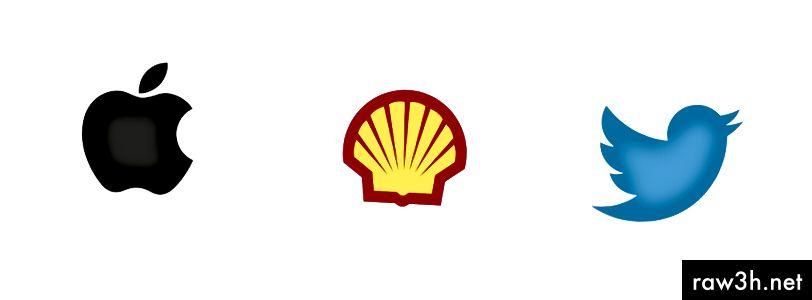 Символични логотипи на Apple, Shell и Twitter.