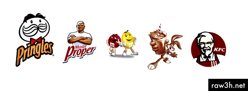 Талисмани за талисмани на Pringles, Mr. Clean (Mr. Proper), M&M's, Nesquik и KFC.