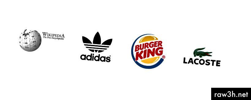 Комбинирани марки на Wikipedia, Adidas, Burger King и Lacoste.