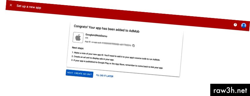 معرف تطبيق AdMob الخاص بك