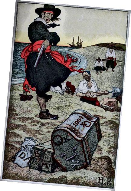 """Pyle, Howard; Johnson, Merle De Vore (red.) (1921) """"With the Buccaneers"""" i Howard Pyle's Book of Pirates: Fiction, Fact & Fancy vedrørende Buccaneers & Marooners fra den spanske hoved, Tallerken vendt p. 76, takket være Wikimedia. På det offentlige område i USA."""