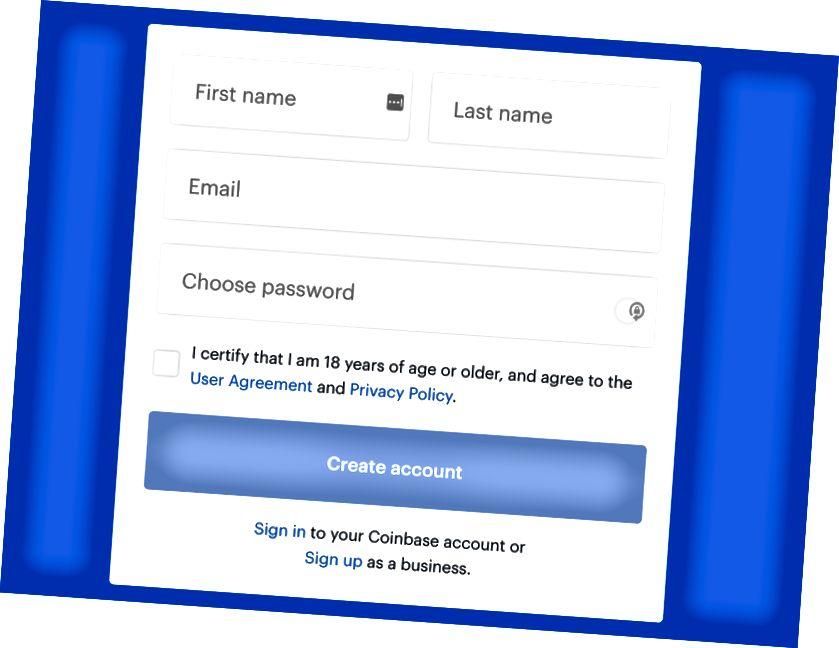 Regisztráció ablak a Coinbase.com webhelyen