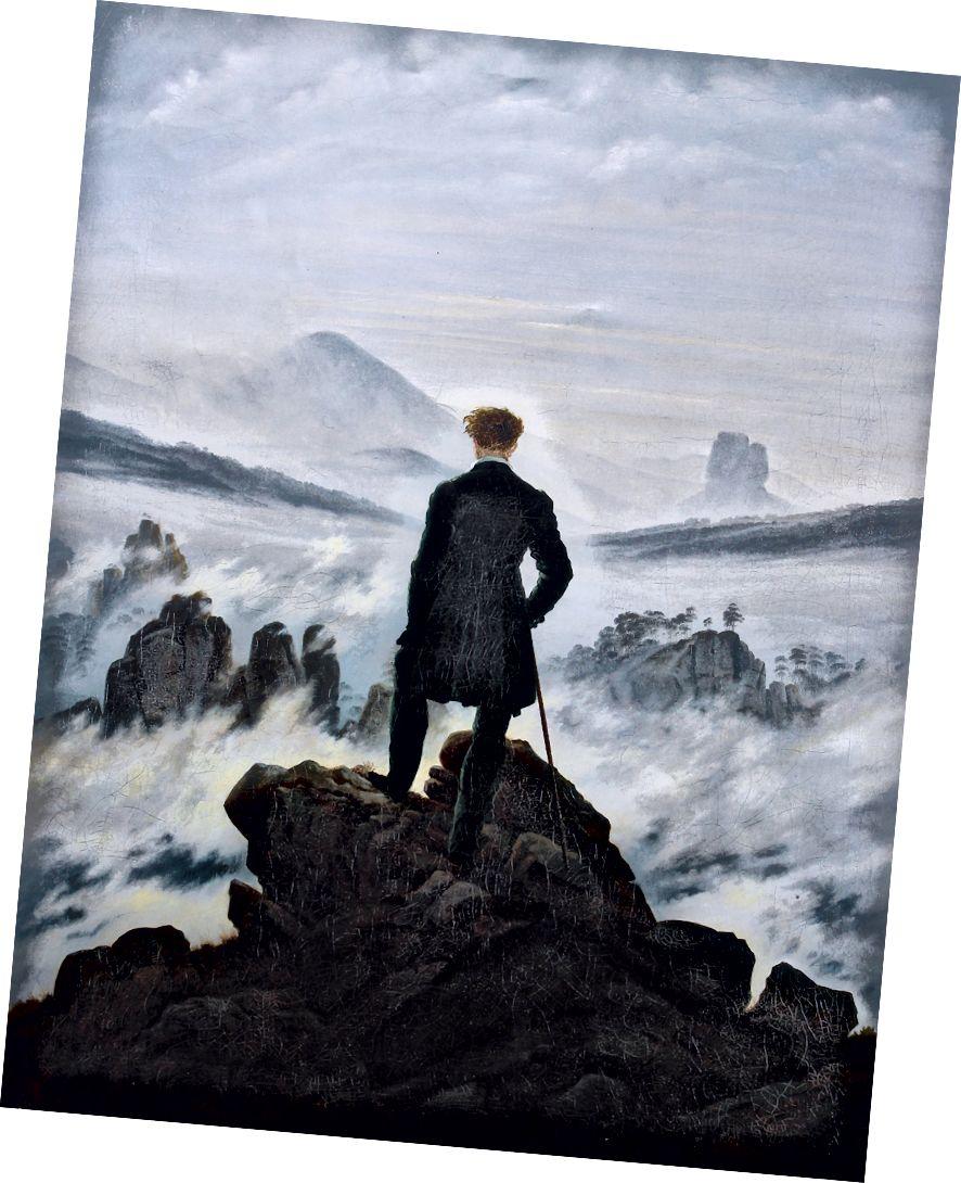 Wanderer Os cionn Mhuir na Ceo - Caspar David Friedrich c. 1818